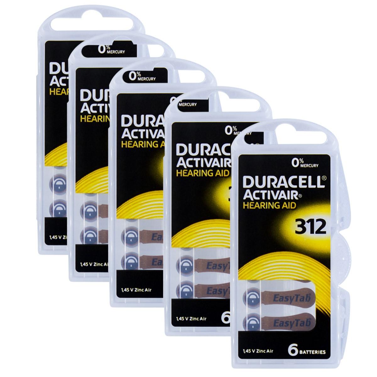 30 Pilhas DA312 DURACELL baterias PR41 Aparelho auditivo