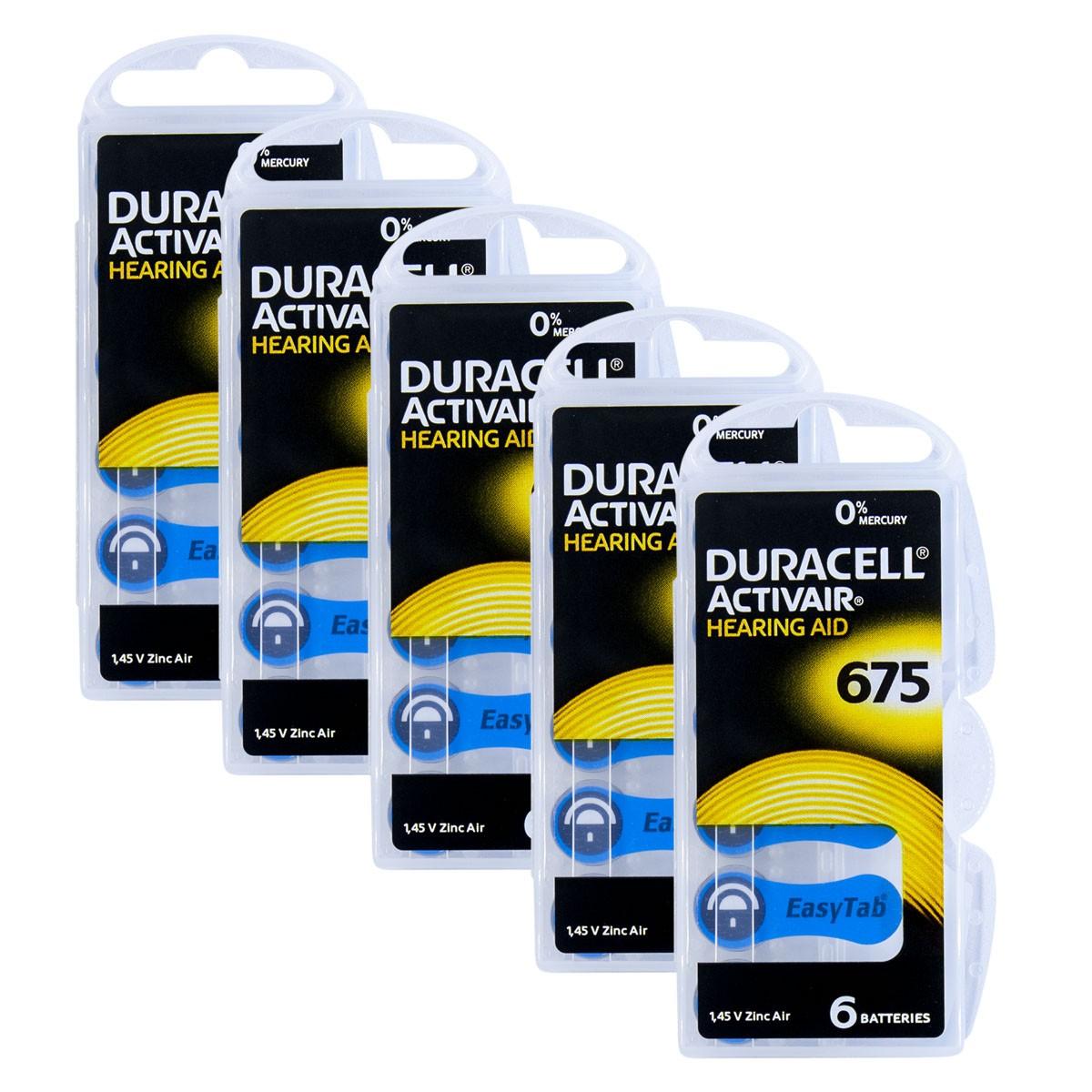 30 Pilhas DA675 DURACELL baterias PR44 Aparelho auditivo