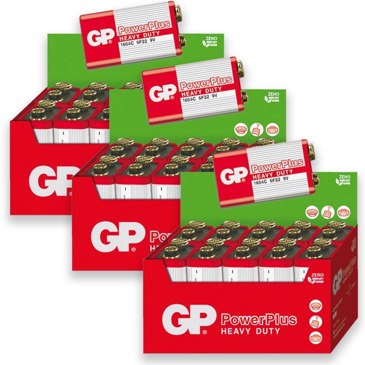 30 Pilhas GP POWERPLUS 9V Bateria Zinco Carvão 3 caixas
