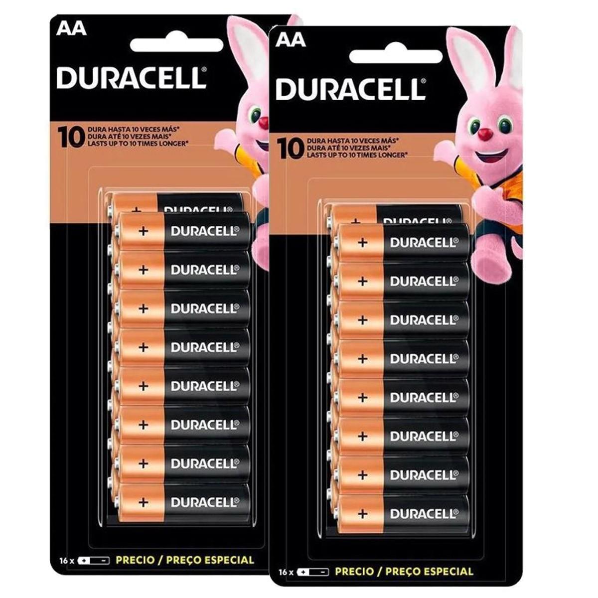 32 Pilhas DURACELL DURALOCK Alcalina AA Embalagem C/16 Unids