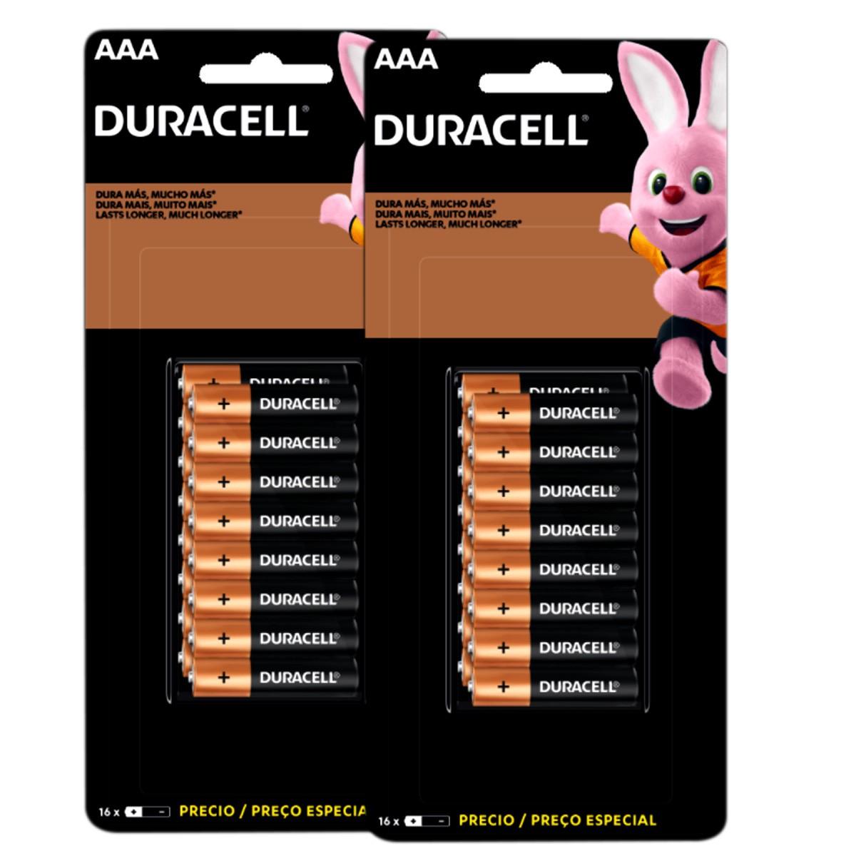 32 Pilhas DURACELL DURALOCK Alcalina AAA Embalagem C/16 Unids