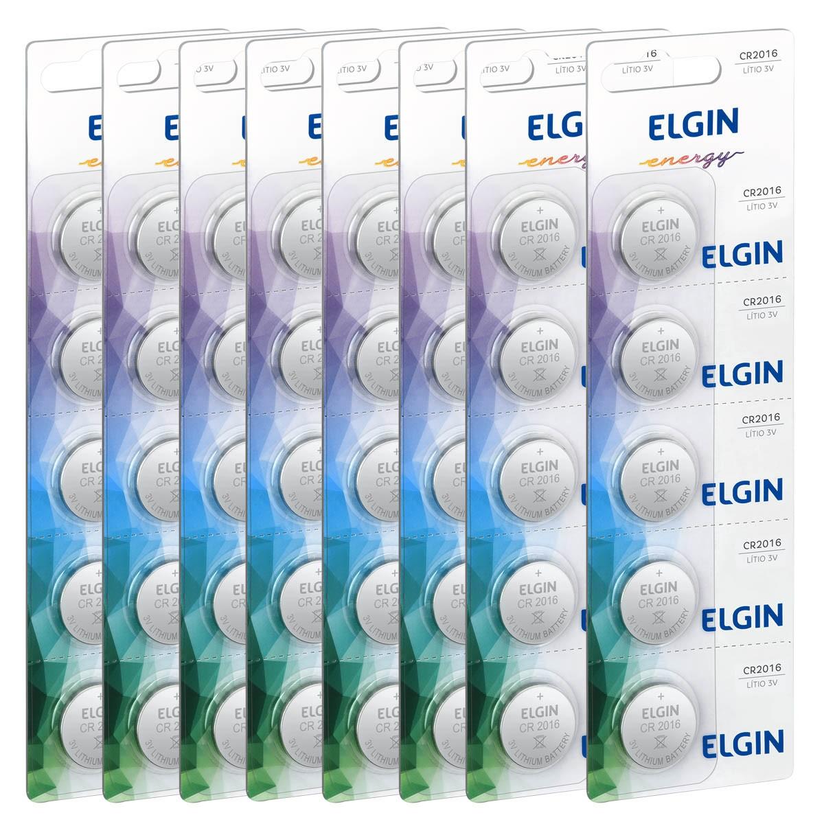 40 Baterias Pilhas Lithium 3V Elgin CR2016 8 cartela