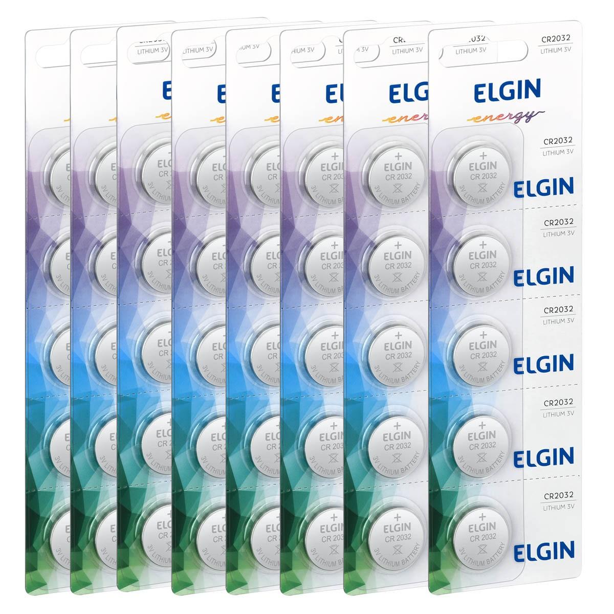 40 Baterias Pilhas Lithium 3V Elgin CR2032 8 cartela