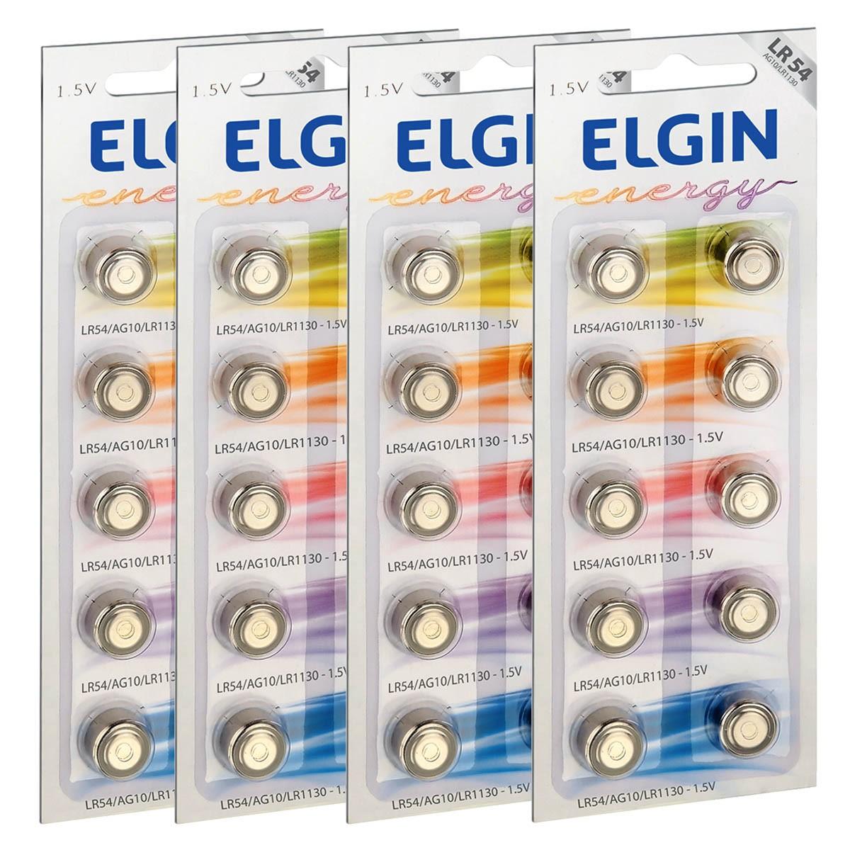 40 Pilhas Baterias LR1130 LR54 AG10 Alcalina ELGIN 4 cartela
