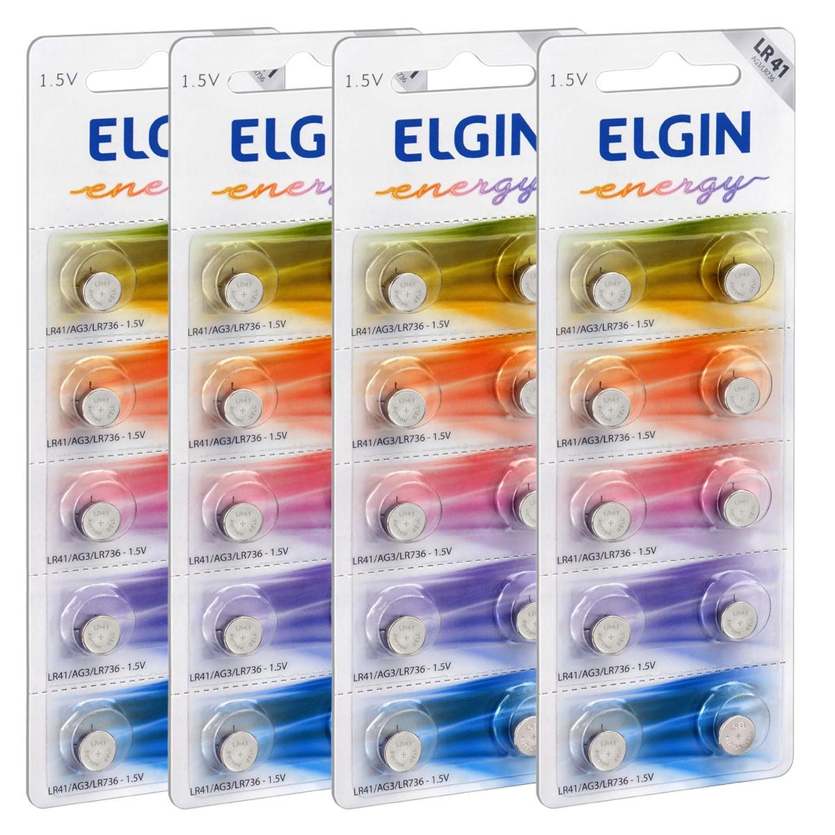 40 Pilhas Baterias LR41 192 Alcalina ELGIN 4 cartelas