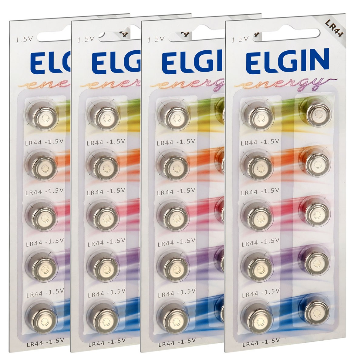 40 Pilhas Baterias LR44 A76 AG13 Alcalina ELGIN 4 cartelas