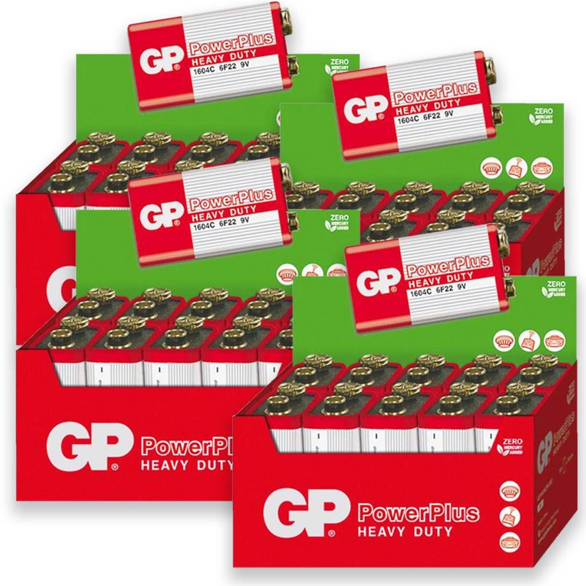 40 Pilhas GP POWERPLUS 9V Bateria Zinco Carvão 4 caixas