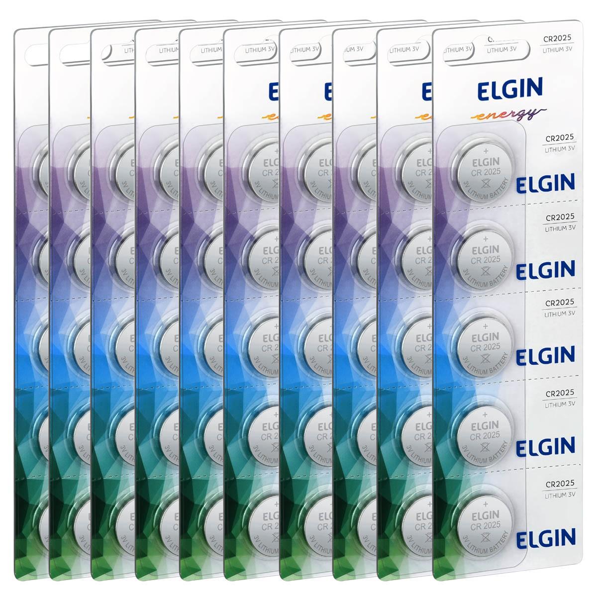 50 Baterias Pilhas Lithium 3V Elgin CR2025 10 cartela