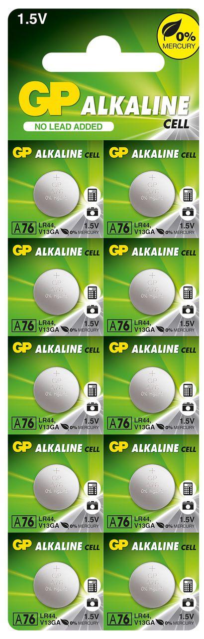50 Pilhas Baterias LR44 A76 AG13 Alcalina GP - 05 cartelas com 10 unidades