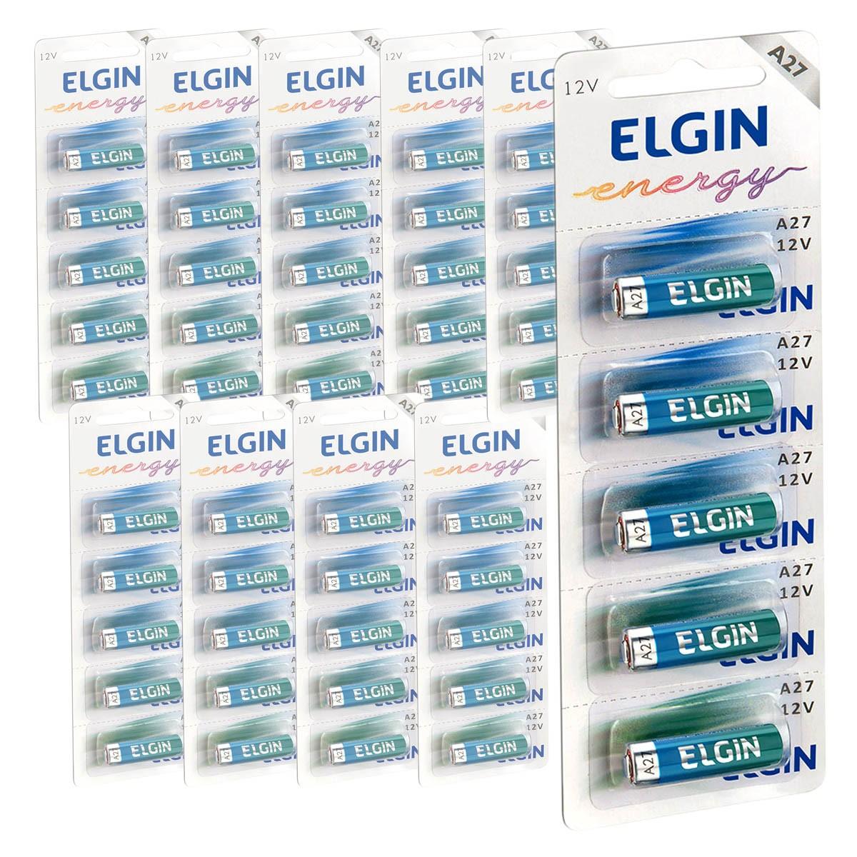 50 Pilhas Baterias ELGIN 27A 12V A27 Alcalina 10 cartelas