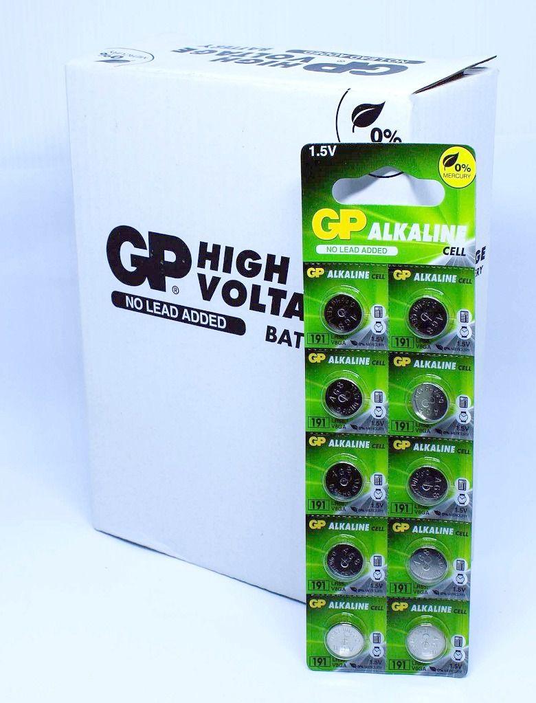 50 Pilhas Baterias LR1120 191 LR55 Alcalina GP - 5 cartelas