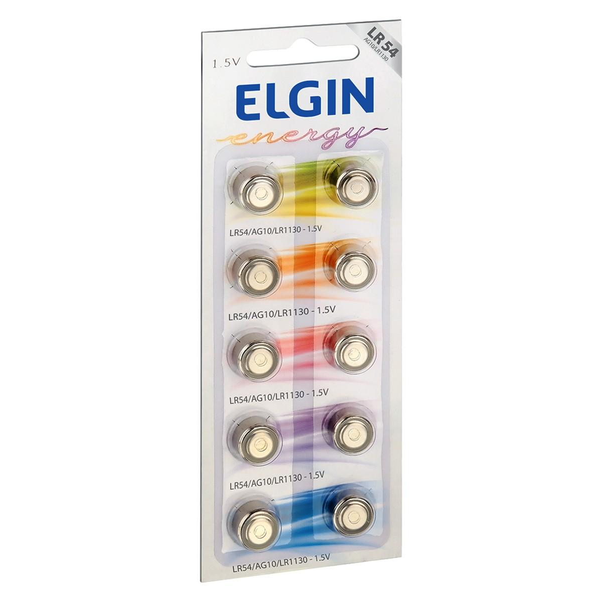 50 Pilhas Baterias LR1130 LR54 AG10 Alcalina ELGIN 5 cartela