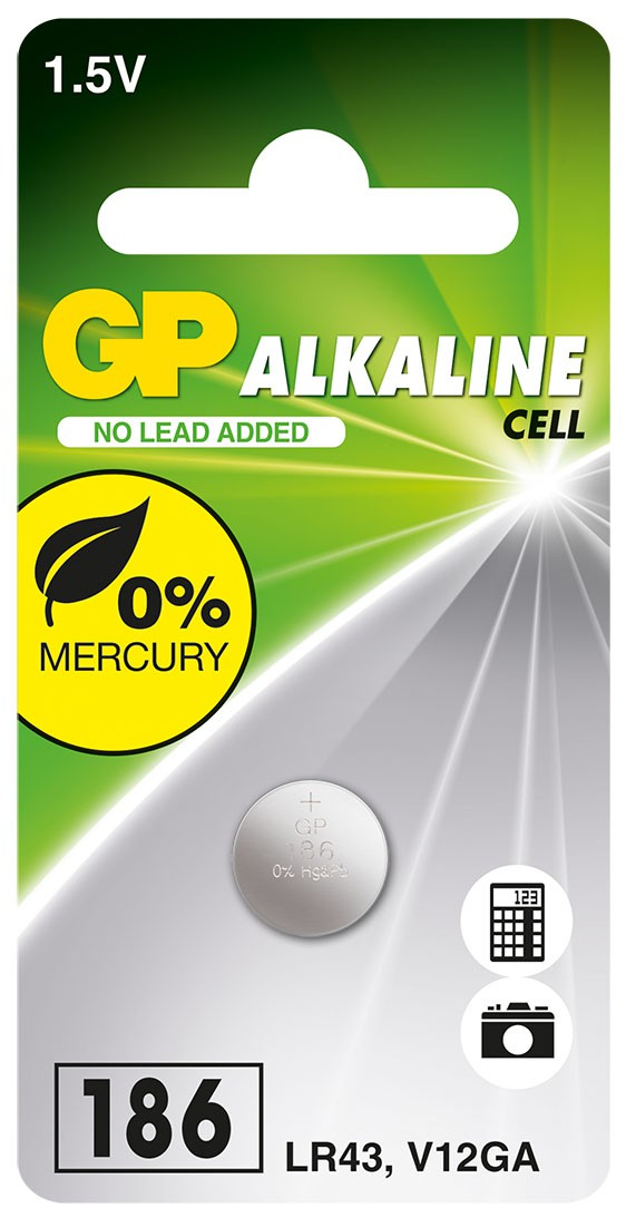 50 Pilhas Baterias LR43 186 Alcalina GP 01 cartela