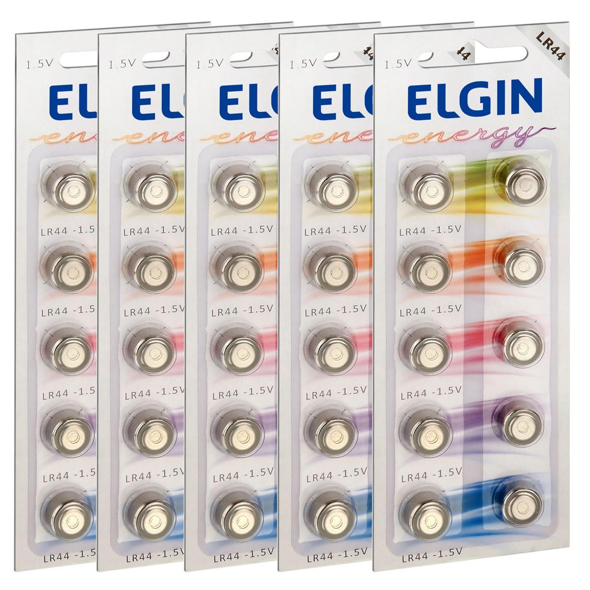 50 Pilhas Baterias LR44/A76/AG13 Alcalina ELGIN 5 cartelas
