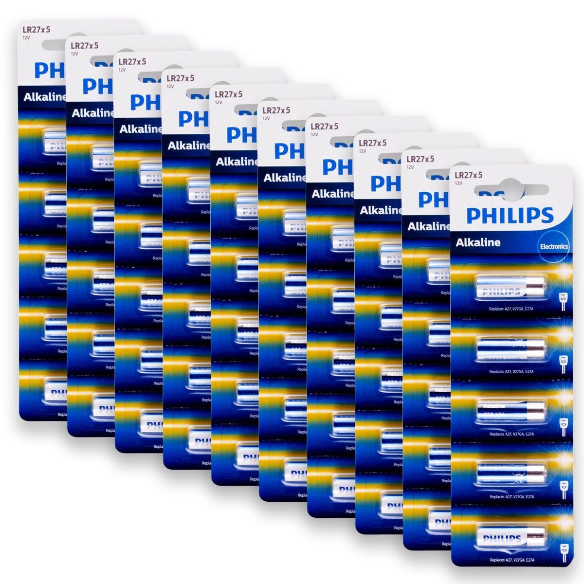 50 Pilhas Baterias PHILIPS 27A 12V A27 Alcalina 10 cartelas