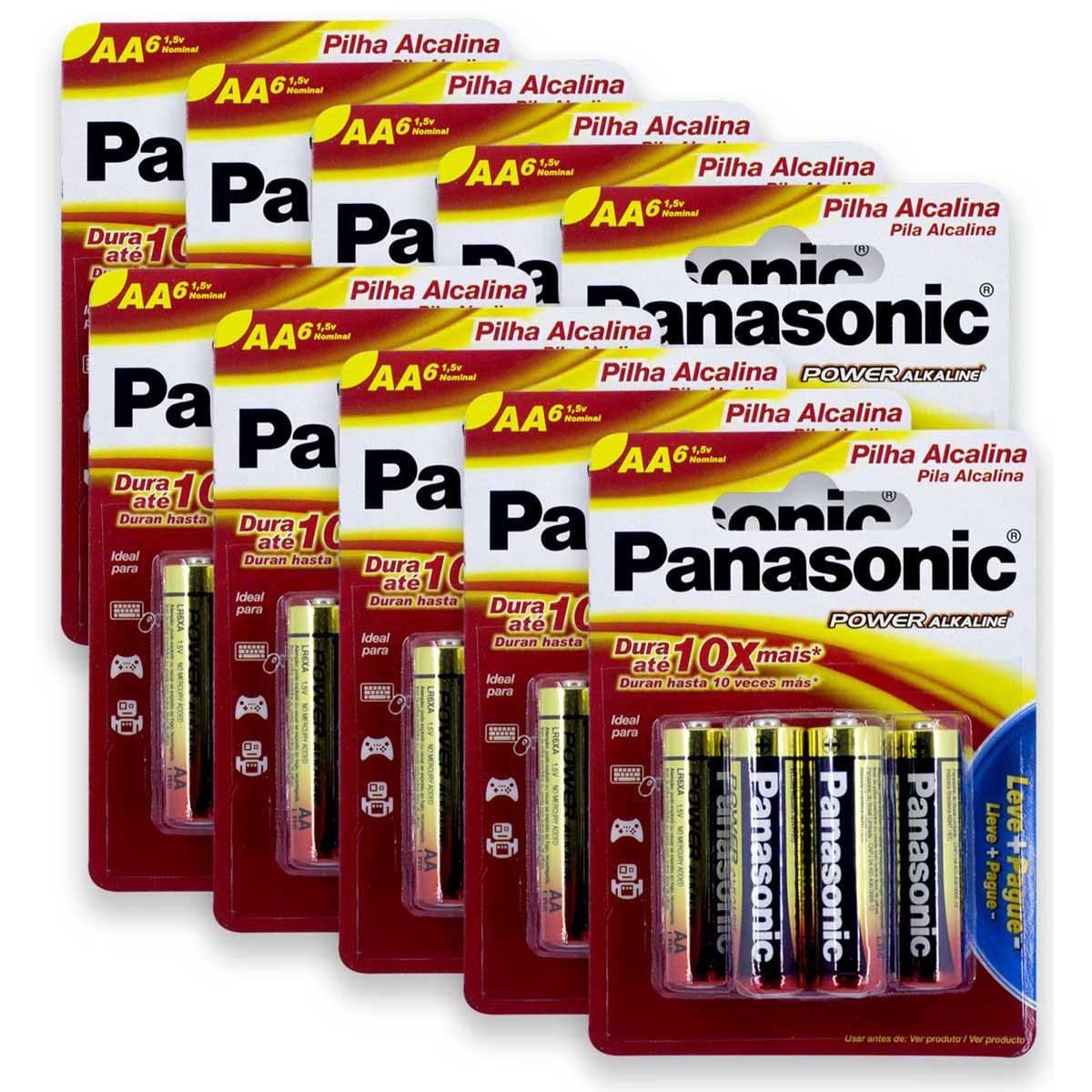 60 Pilhas AA Alcalina PANASONIC 10 cartelas
