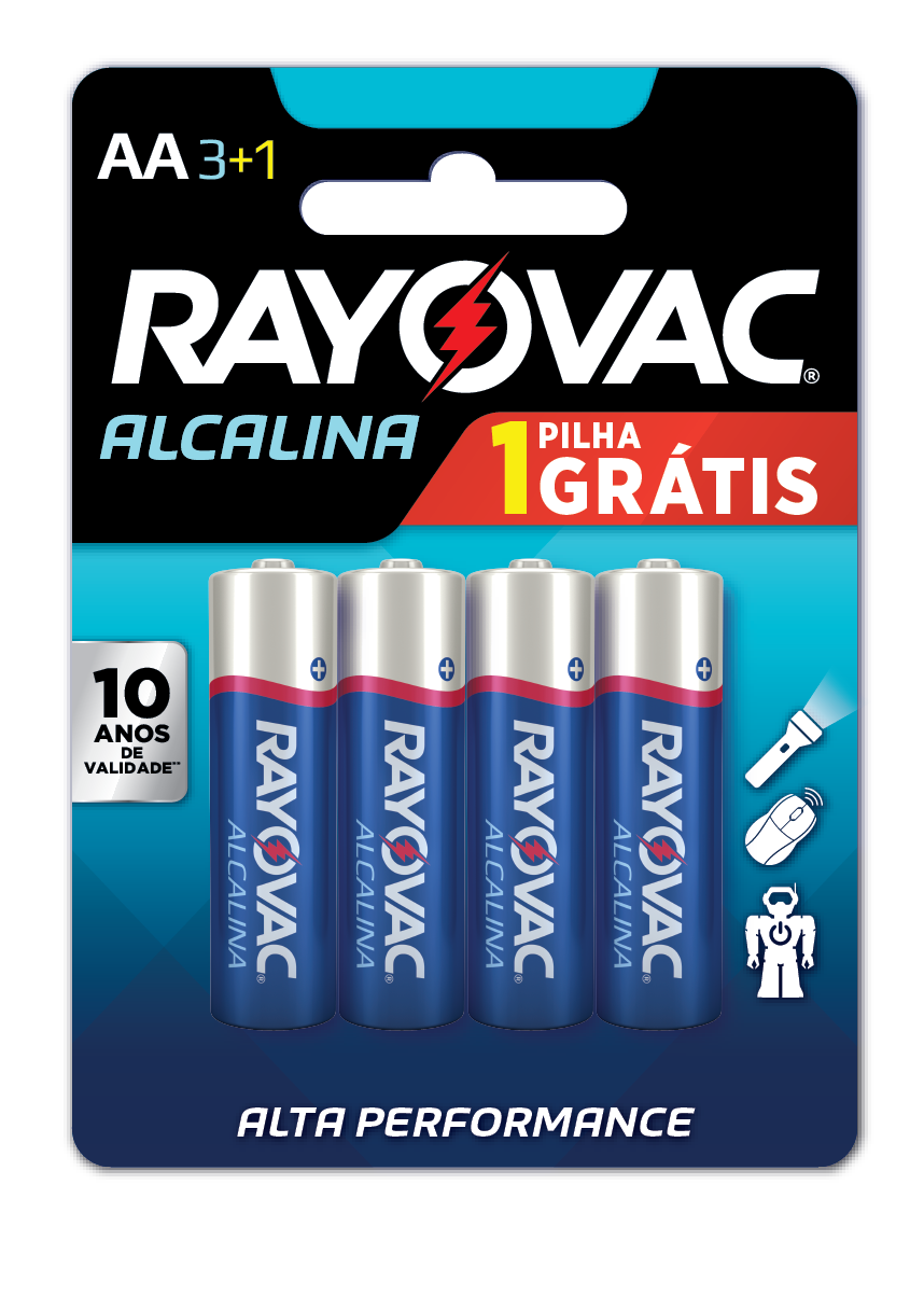 60 Pilhas AA Alcalina RAYOVAC 15 cart c/ 4 unid
