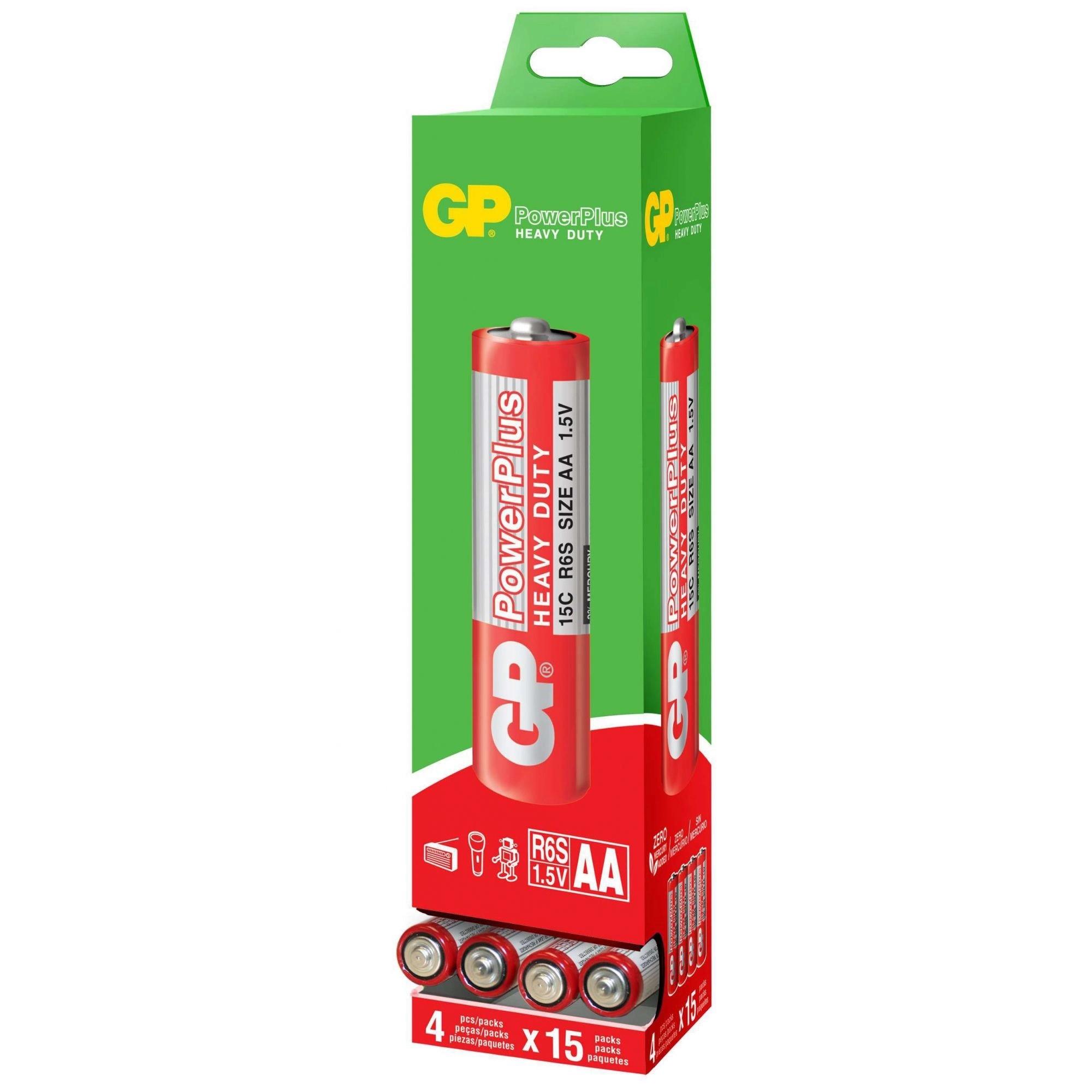 60 Pilhas AA Comum PowerPlus GP Zinco Carvão 1 caixa