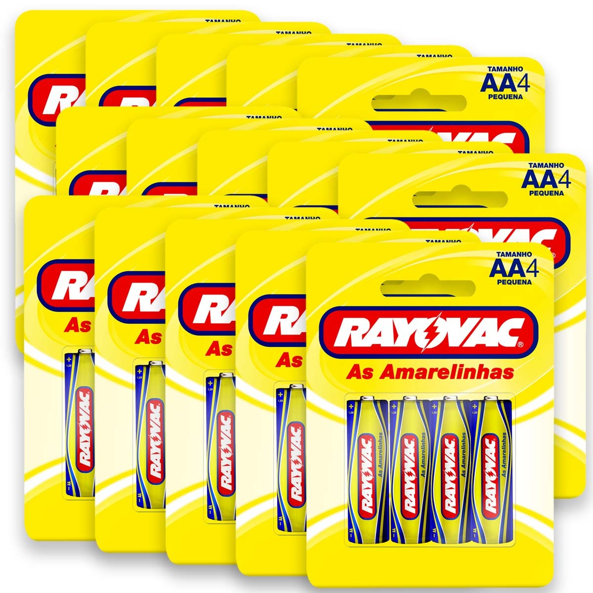 60 Pilhas AA Zinco Carvão RAYOVAC 15 cartelas