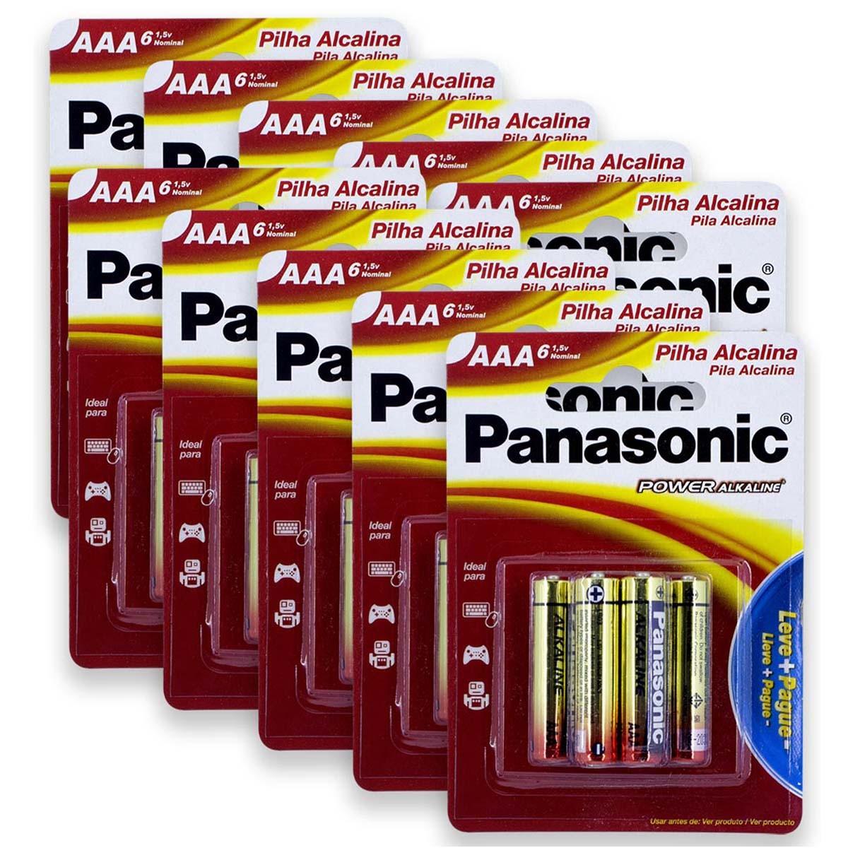 60 Pilhas AAA Alcalina PANASONIC 10 cartelas