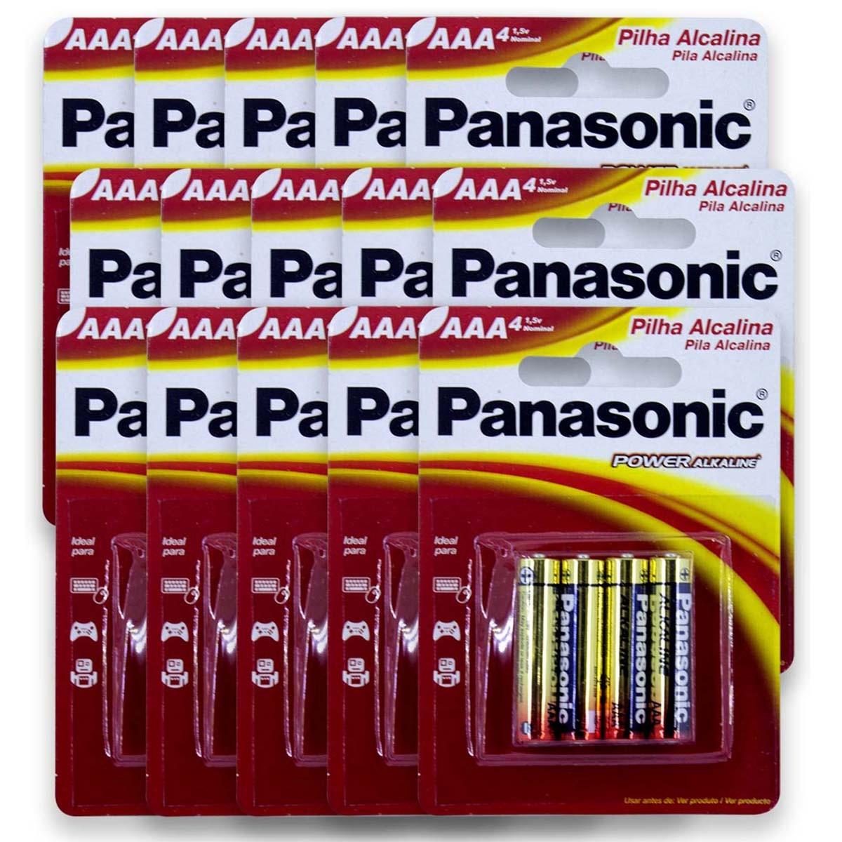 60 Pilhas AAA Alcalina PANASONIC 15 cartelas