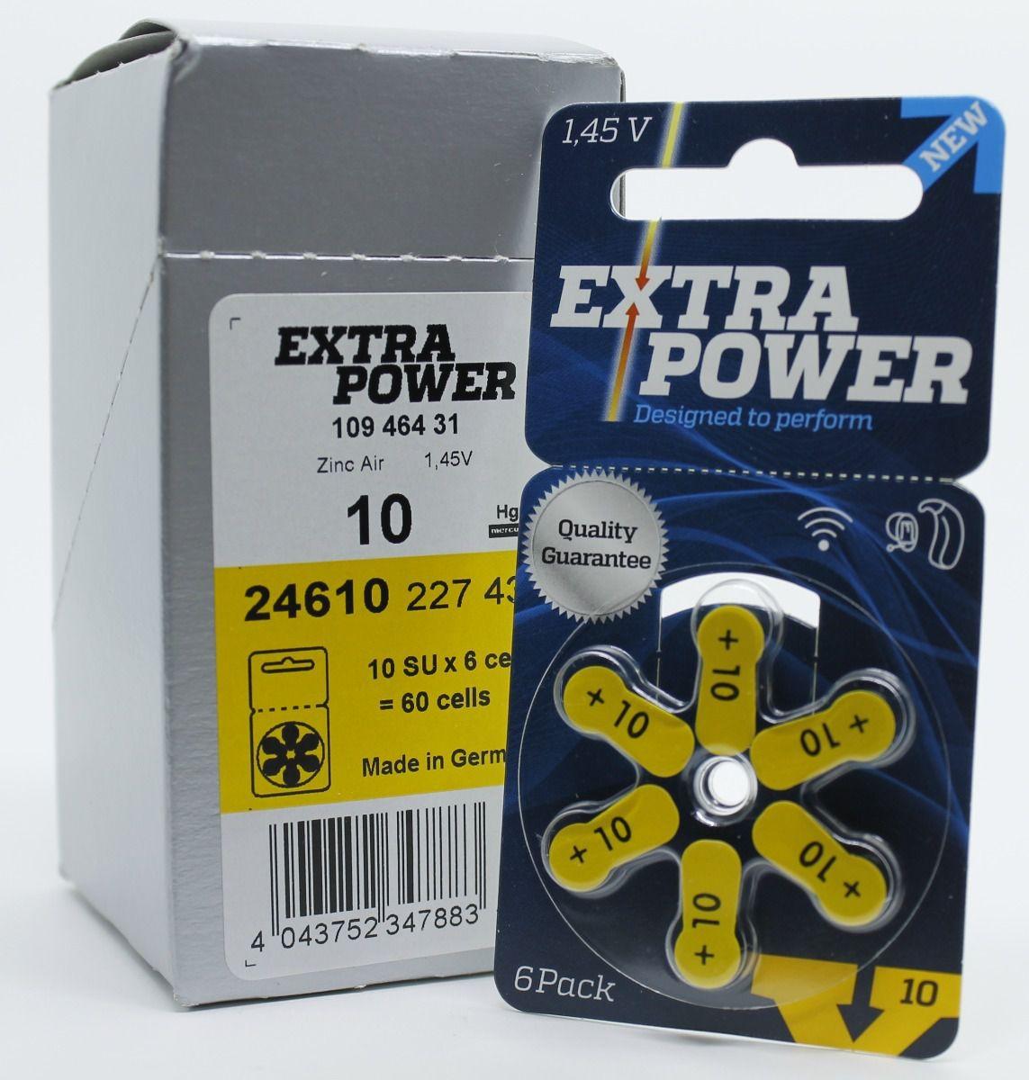 60 Pilhas baterias 10 PR70 Aparelho auditivo EXTRA POWER