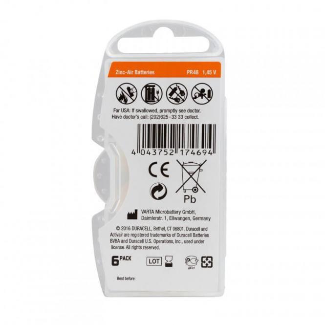 60 Pilhas Baterias DA 13 PR48 Aparelho Auditivo - Duracell