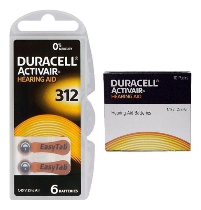 60 Pilhas Baterias DA 312 PR41 Aparelho Auditivo - Duracell