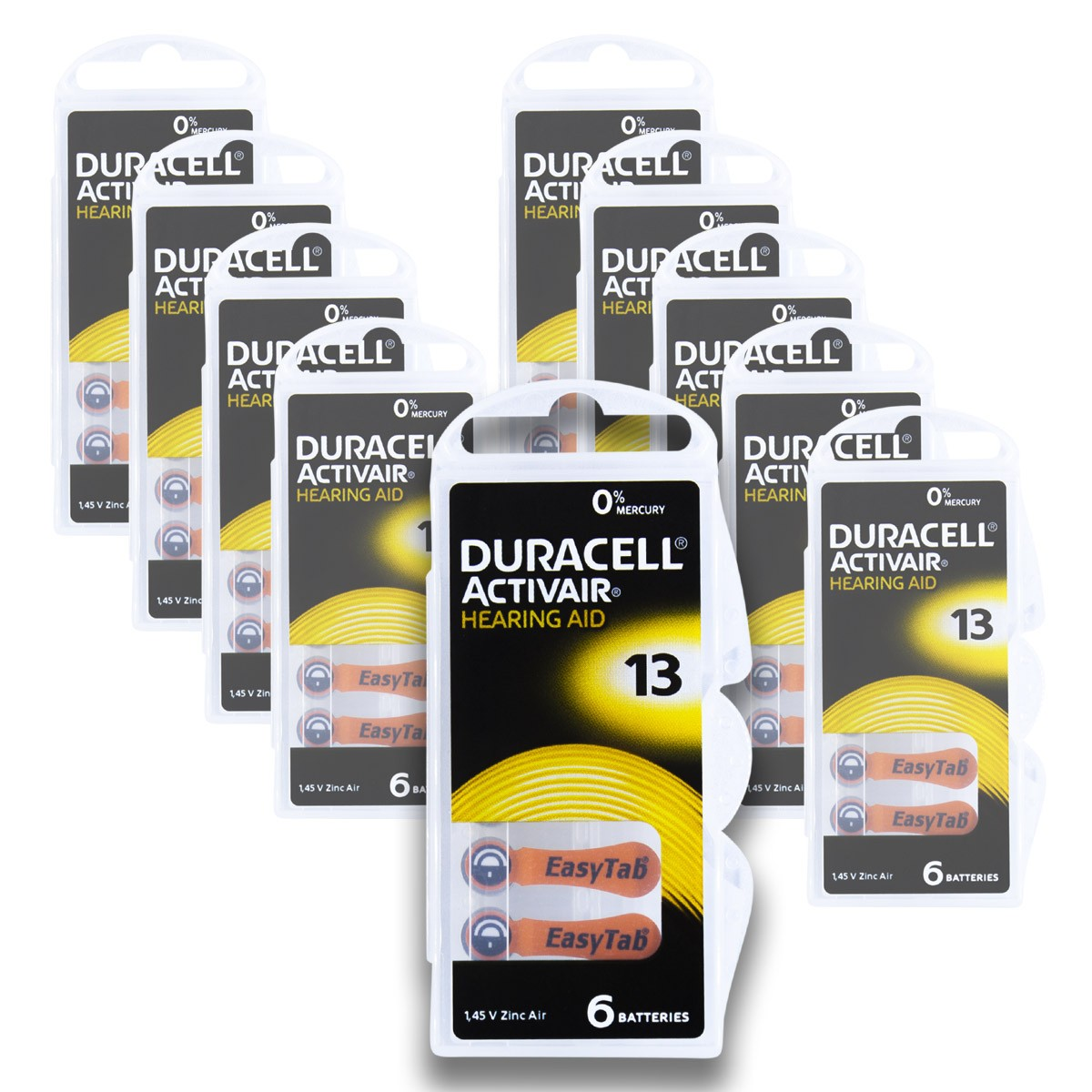 60 Pilhas DA13 DURACELL baterias PR48 Aparelho auditivo