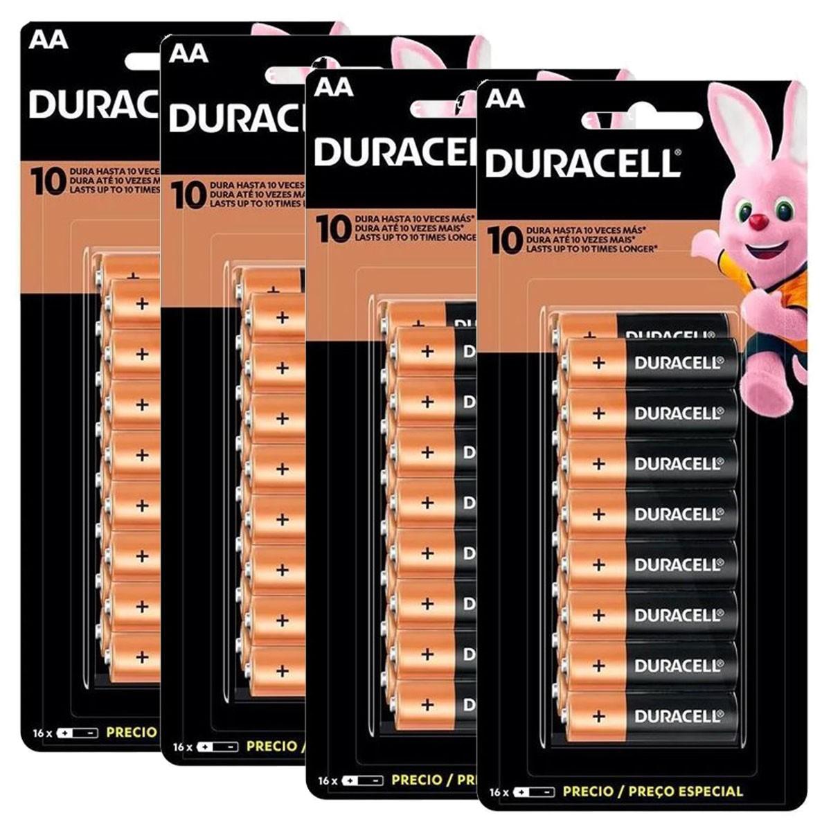 64 Pilhas DURACELL DURALOCK Alcalina AA Embalagem C/16 Unids