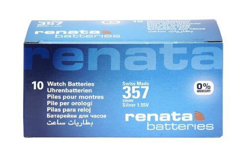 10 Pilha Bateria 357 Relógio 1.55v Renata Sr44w Original - 01 cartela com 10 unidades