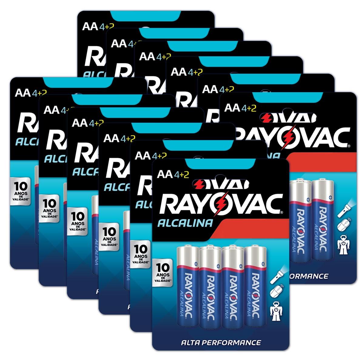72 Pilhas AA Alcalina RAYOVAC 12 cartelas