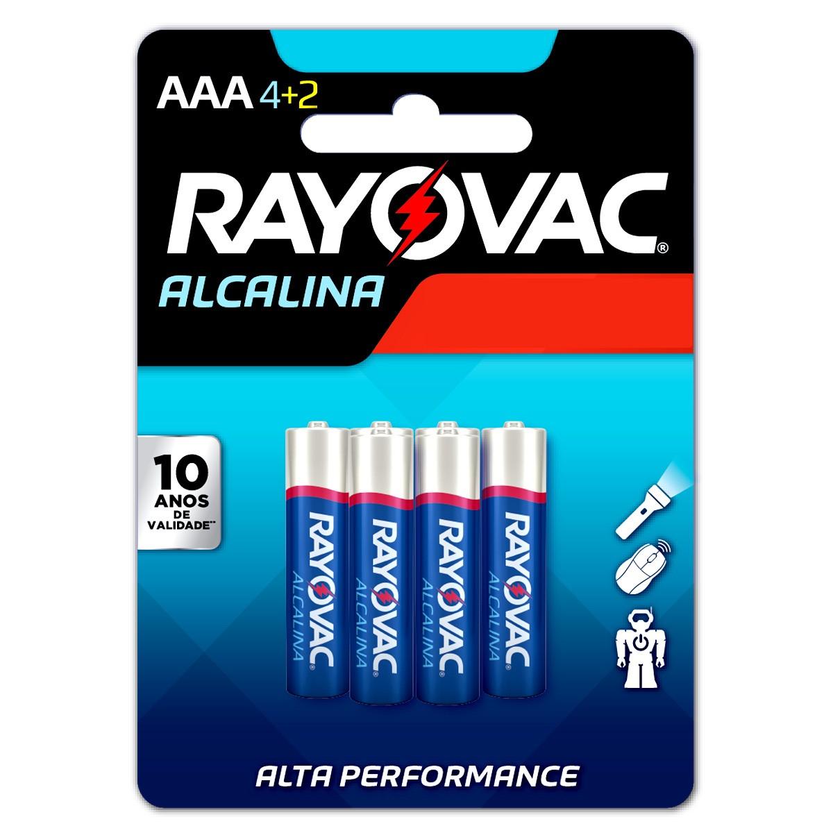 90 Pilhas AAA Alcalina RAYOVAC 15 cartelas