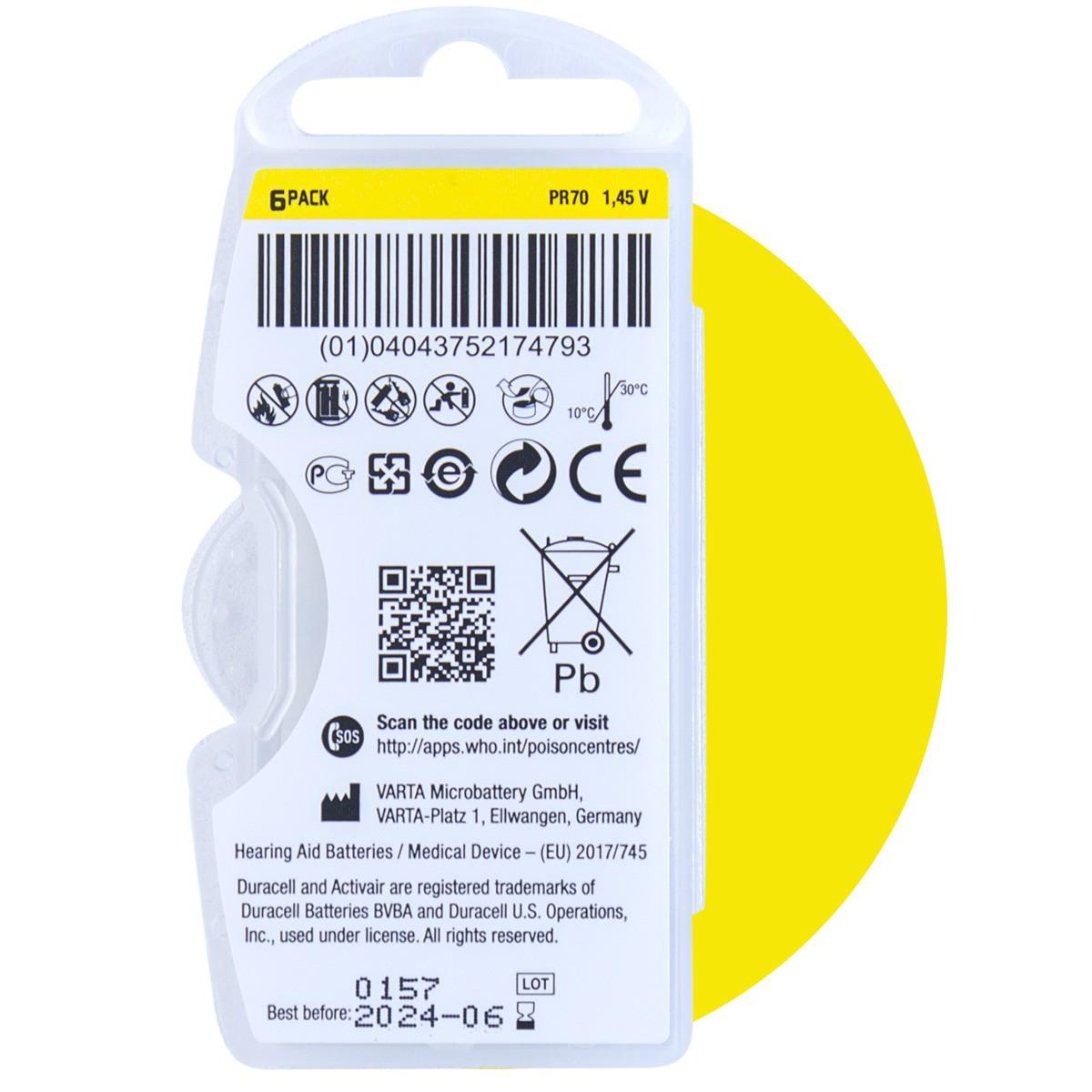 90 Pilhas DA10 DURACELL baterias PR70 Aparelho auditivo
