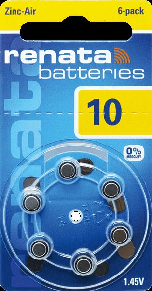 06 Baterias Pilhas Auditiva 10 RENATA ZA10 - 01 cartela