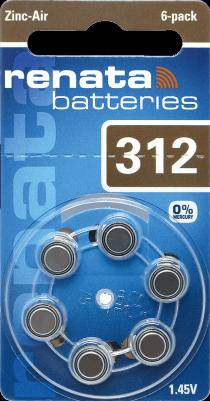 06 Baterias Pilhas Auditiva 312 Renata ZA312  - 01 cartela