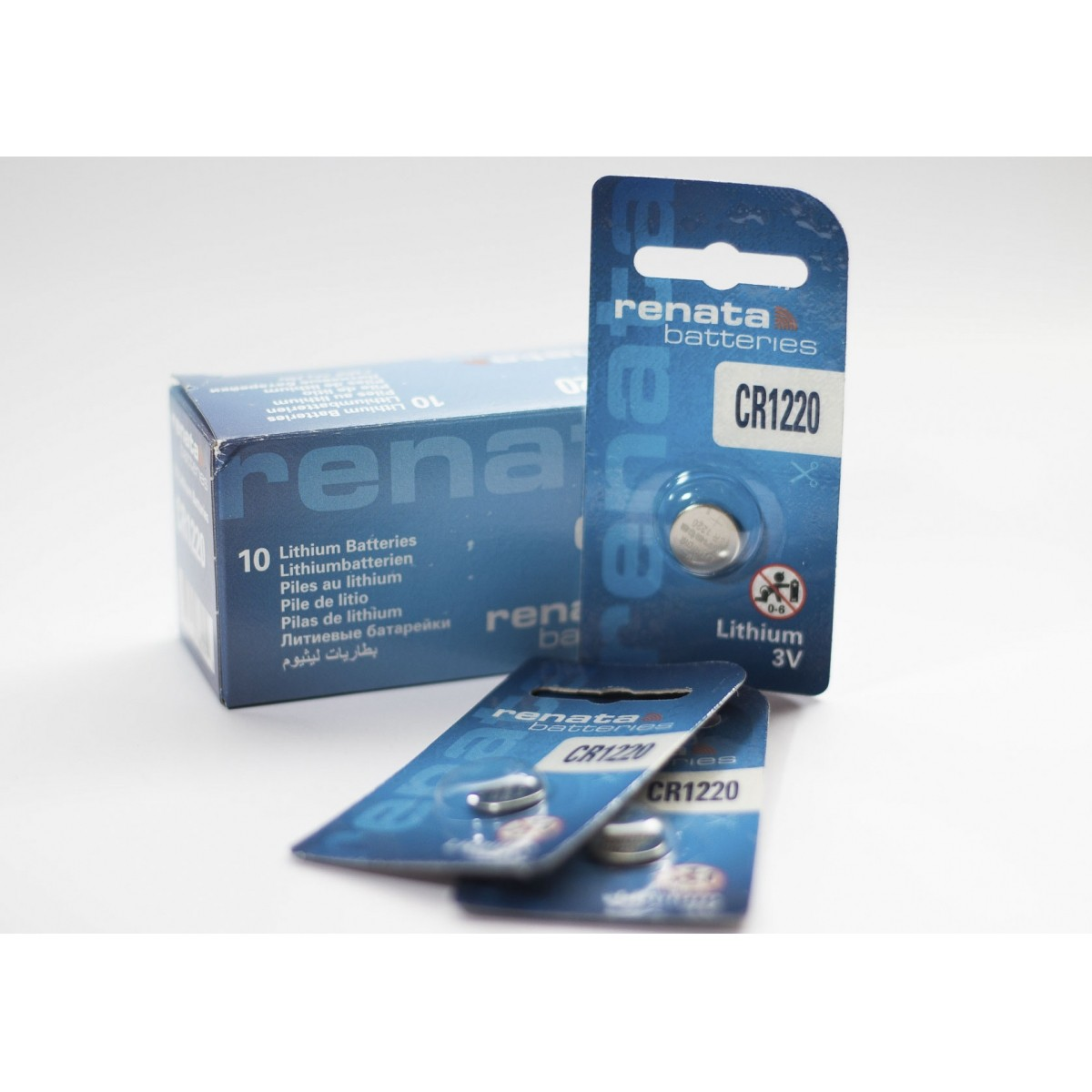 10 Baterias Pilhas Lithium Renata CR1220 - 01 caixa com 10 unidades