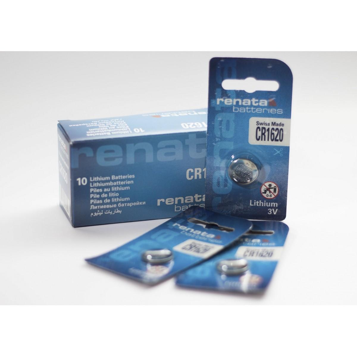 10 Baterias Pilhas Lithium Renata CR1620 - 01 caixa com 10 unidades
