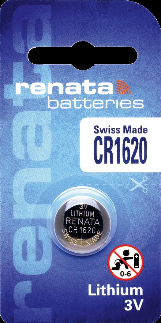 10 Baterias Pilhas Lithium Renata CR1620 - 01 caixa