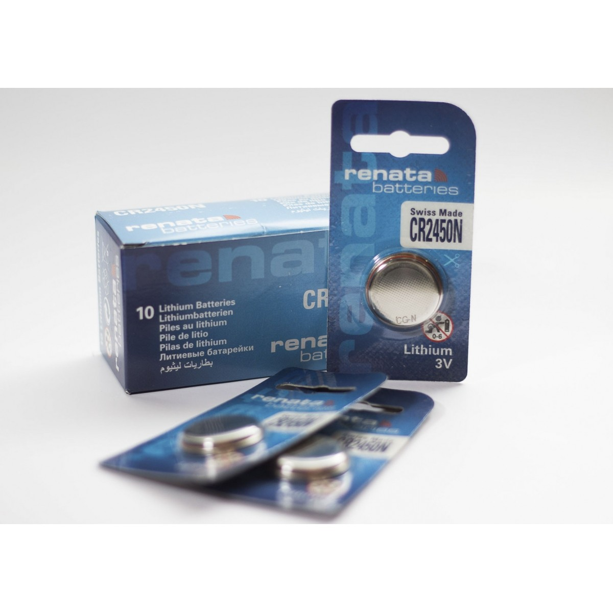 10 Baterias Pilhas Lithium Renata CR2450 CR2450N - 01 caixa com 10 unidades