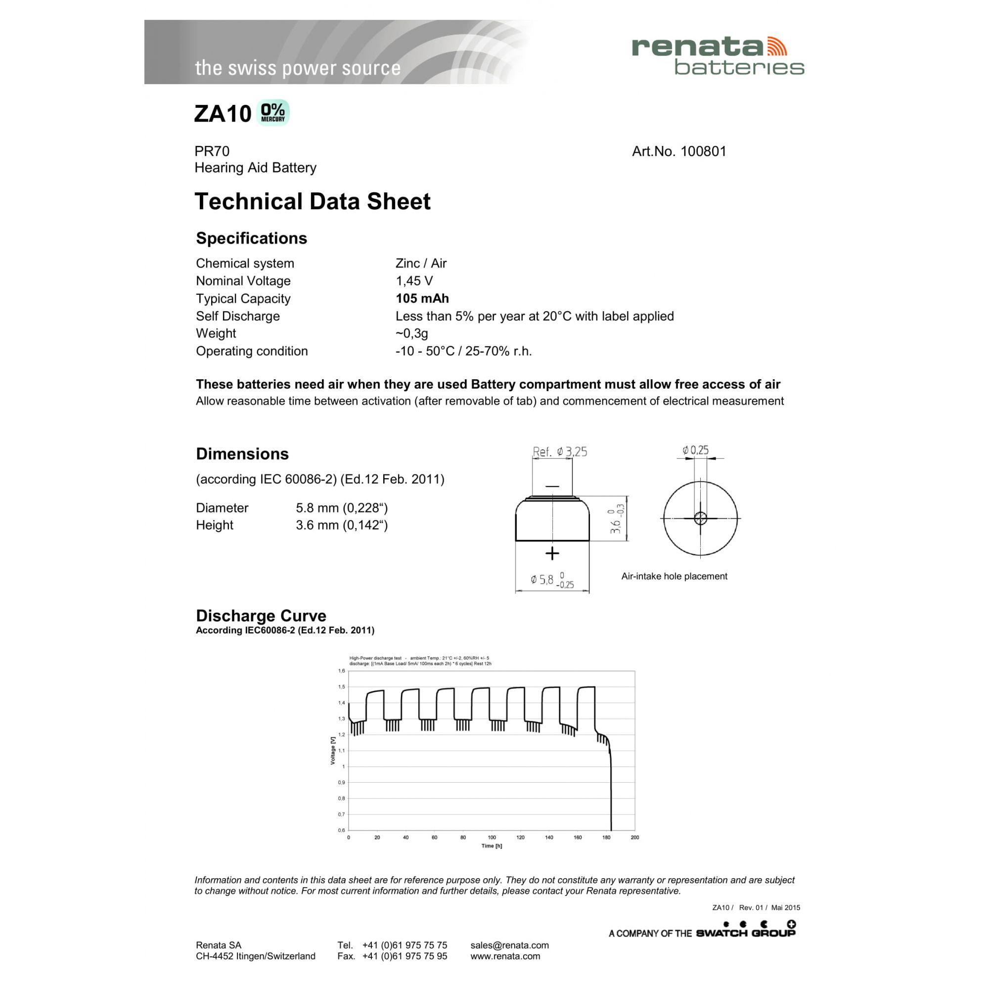 120 Baterias Pilhas Auditiva 10 RENATA ZA10 - 20 cartelas