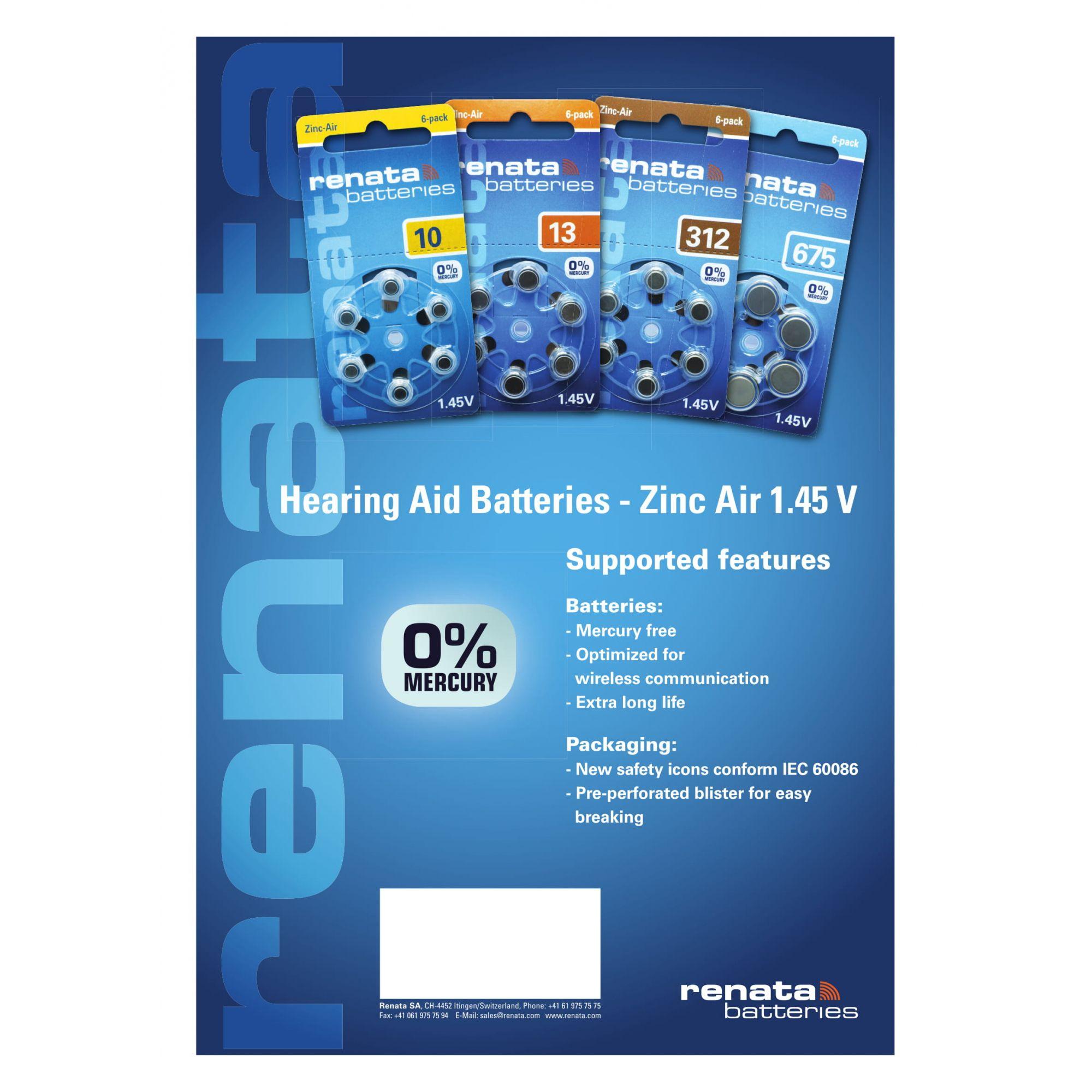 60 Baterias Pilhas Auditiva 10 RENATA ZA10 - 10 cartelas