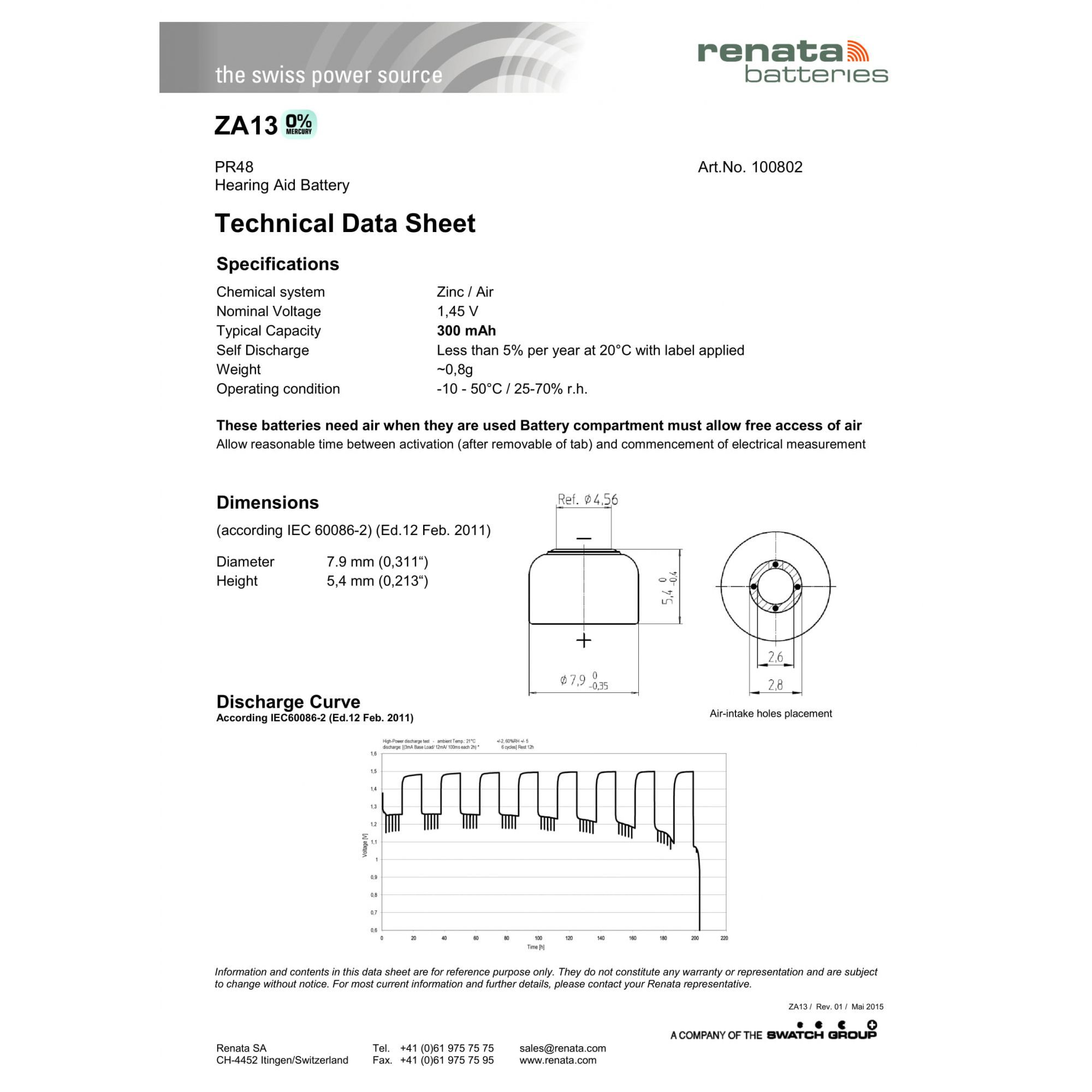 120 Baterias Pilhas Auditiva 13 RENATA ZA13  - 20 cartelas