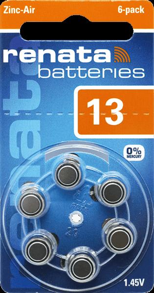 90 Baterias Pilhas Auditiva 13 RENATA ZA13  - 15 cartelas