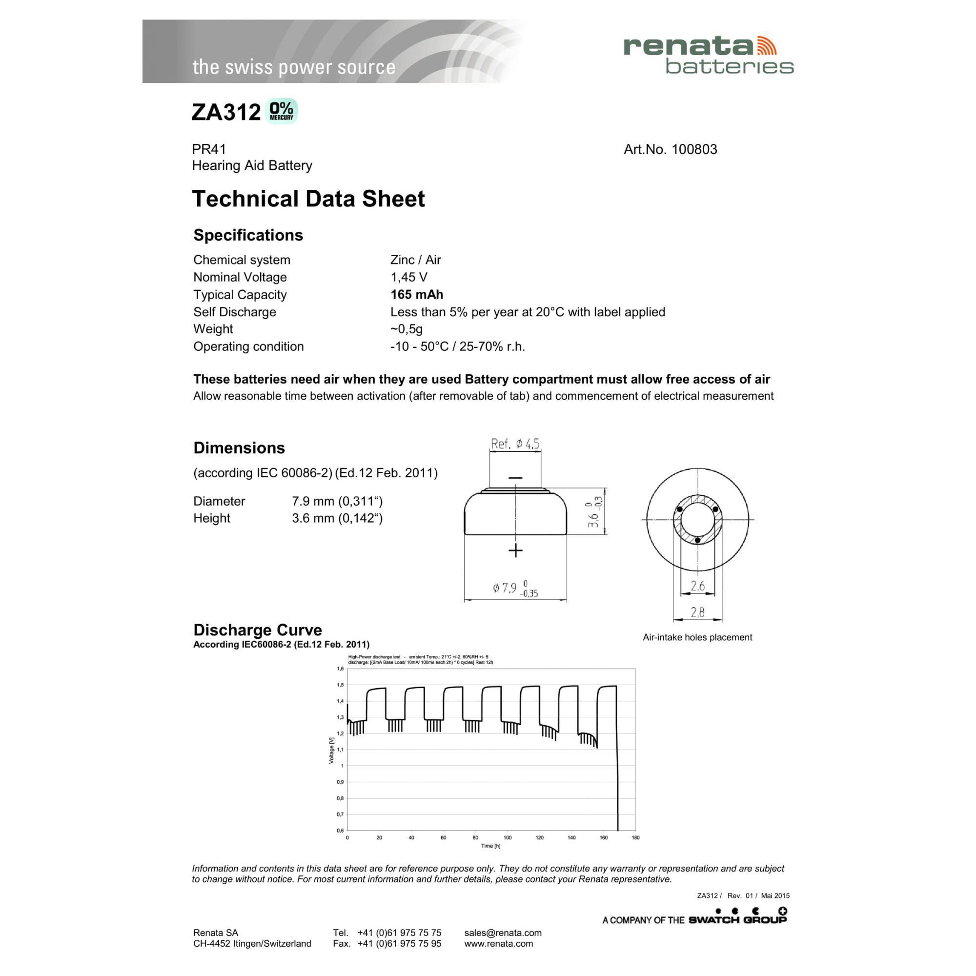 90 Baterias Pilhas Auditiva 312 Renata ZA312  - 15 cartelas