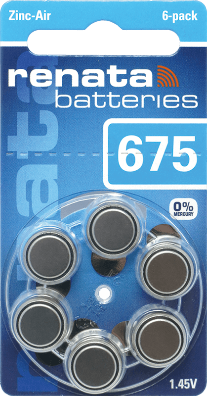 120 Baterias Pilhas Auditiva 675 Renata ZA675  - 20 cartelas