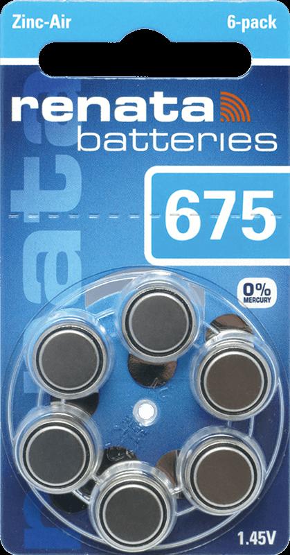 90 Baterias Pilhas Auditiva 675 Renata ZA675  - 15 cartelas