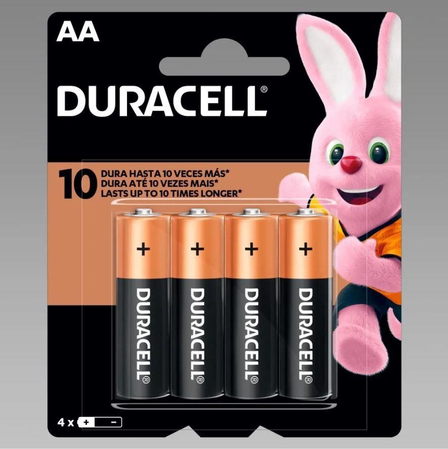 4 Pilhas Duracell Duralock Alcalina AA Embalagem C/4 Unids