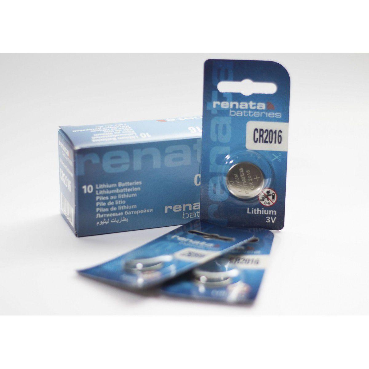 50 Baterias Pilhas Lithium Renata CR2016 - 05 caixas com 10 unidades