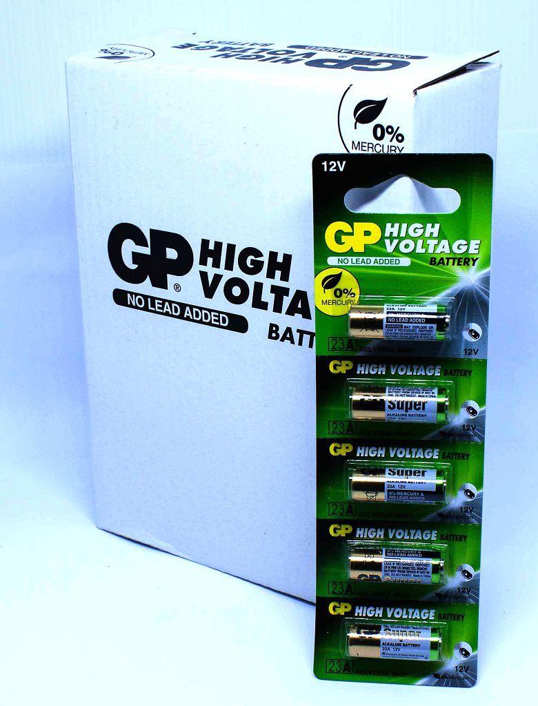 50 Pilhas Baterias 23A 12V A23 Alcalina GP Super Controle Alarme Portão - 10 cartelas com 5 unidades